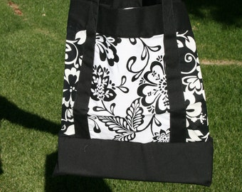 Large, Black and White, Hibiscus Tote Bag