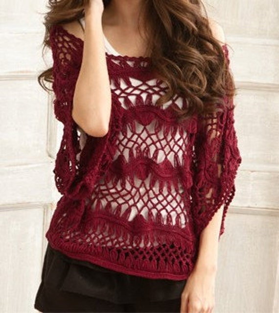 Women sweater  lovely hook flower hollow-out sweater--SW031