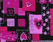 Pink Blocks and Hearts Fabric: Quilting Cotton Fat Quarter