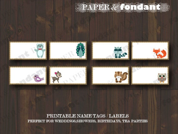 INSTANT DOWNLOAD - PRINTABLE Tags - Labels -Cards - Woodland theme