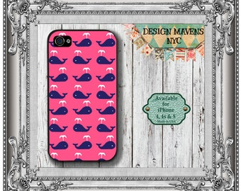 Preppy Whale iPhone Case, Nautical iPhone Case, Pink Phone Case, iPhone 4, 4s, iPhone 5, 5s, 5c, iPhone 6, 6s, 6 Plus, SE, iPhone 7, 7 Plus