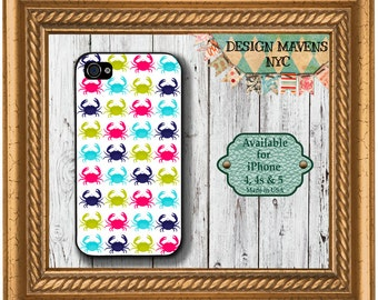 Preppy Crabs iPhone Case, Nautical iPhone Case, Plastic iPhone Case, iPhone 4, iPhone 4s, iPhone 5, iPhone 5s, iPhone 5c, iPhone 6