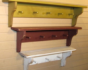 "Handmade 36"" Rustic Shelf w Pegs -FREE SHIPPING - Distressed Primitive Cottage Style"
