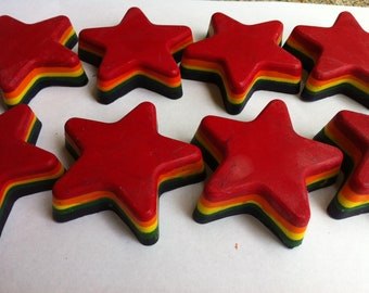SALE 20Pk. Jumbo Rainbow  Layered Star Crayons - (Customized Party Pk.)