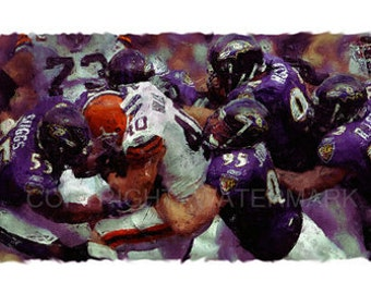 New Baltimore Ravens 2011 Oil-style Portrait Print sn only 50, 12 x 18