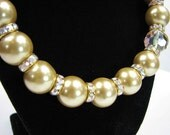 Gold 150mm Pearl and AB Rhondele necklace and earring set