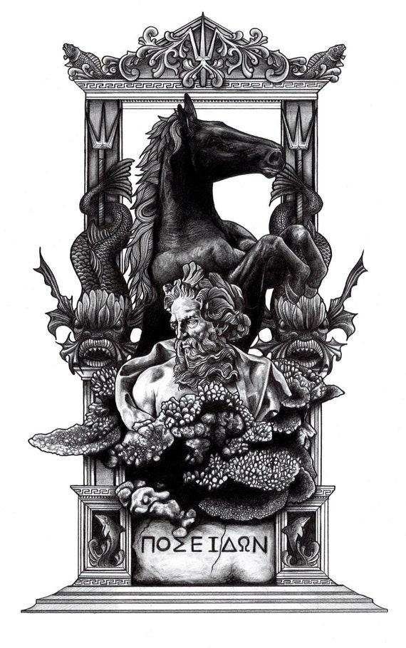 Greek Mythology Poseidon Print by AaronKingIllustrator on Etsy