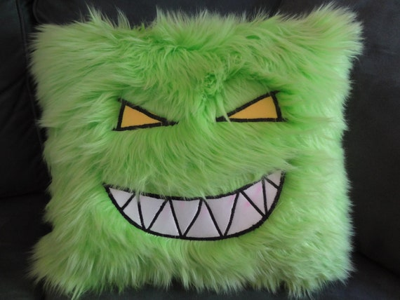 Feed Me Green Fuzzy Monster Pillow