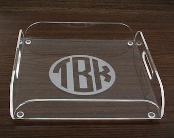 Personalized Acrylic Trays - Monogram Initials-Serving Tray - Acrylic Tray - Monogrammed Gifts