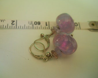 silver euro back earrings with blown glass 1980