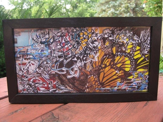 Monarch Butterfly Cutout Framed Collage