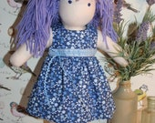 Doll day dress in crisp blue print, sleeveless
