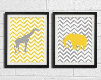 Safari Nursery Wall Art Prints - Elephant Giraffe African Animals - Children Room Home Decor set of 2 8x10