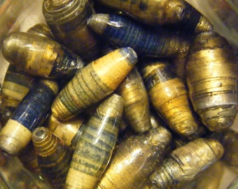 """Paper beads  -  Lot of seven """"Chrysalis"""""""