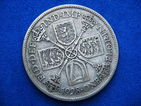 1928 George V Silver Florin. Great Britain. England.Bullion coin.1 vintage collectible antique 2 shilling coin.English currency.
