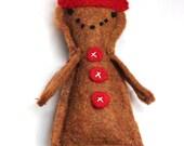 Gingerbread Boy Felt Ornament in Cinnamon