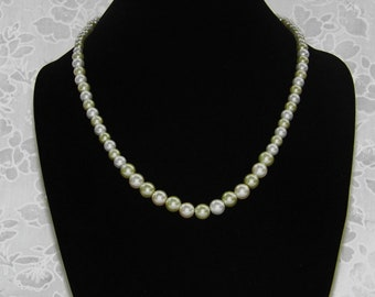 Pale Green and White Glass Pearls