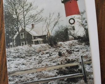 Note Cards - Nauset Lighthouse at Christmas, Eastham, Cape Cod