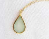 Mint Drop Necklace, Pale Green Teardrop Necklace, Mint  Enamel and Gold Necklace - MatkaShop