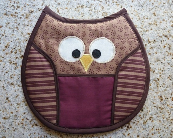 Owl Pot Holder -  tan, brown, burgundy