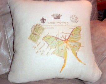 Linen Pillow Cover  - French Postcard  - Green Butterfly - 16x16- Paris Pillow - French Country Decor - Pillows - Accent pillow