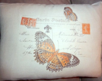 Linen Pillow Cover  - Vintage French Postcard -  Butterfly pillow cover - accent pillow - 12x16 - French country decor