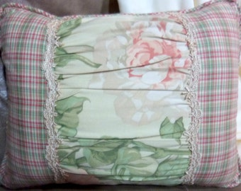 Accent Pillows - Designer Pillow - Pillows - Sofa Pillow - Waverly fabric - peach Peonies on cream
