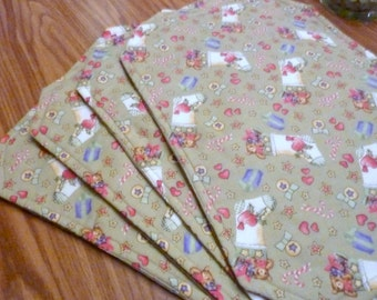 Set of 4 Placemats - Christmas placemats - Sage Green with Stockings - Christmas table linens
