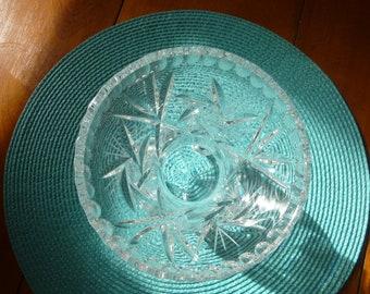 Cut Glass Pinwheel Vase w feet