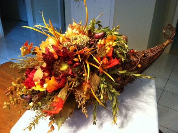 Fall cornucopia silk floral arrangement for Fall fake flower arrangement ideas