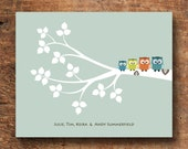 Personalized Custom nursery print, OWLS in a Tree with Family names Poster Print, nursery wall art 8 x 10