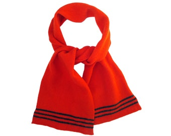 Pillar Box Red Lambswool Knitted Scarf