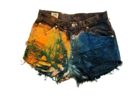 New Collection Sexy Naughty - High Waist Bleached Tie Dye Rainbow / Galaxy Studded Cut Off shorts Size 28 inches