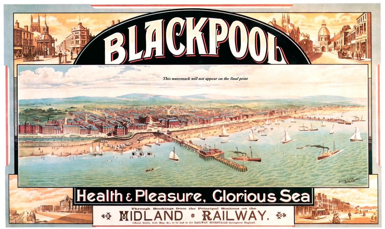 Blackpool England Travel Poster Victorian Seaside Resort