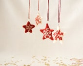 Christmas ornament, White and red Stars, Snowflakes, Needle felted, set of 2, winter decoration, gift tag