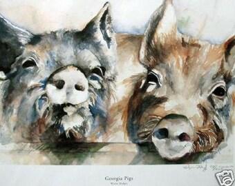 Georgia Pigs Watercolor Print-Free Shipping