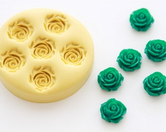 Rose Cabochon Silicone Mold 6 Cavity