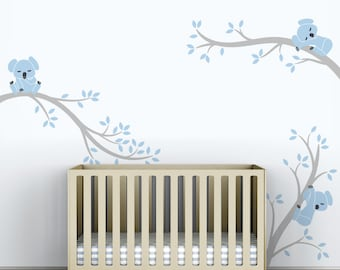 Baby Nursery Decal Decor Blue Baby Room Modern Decor - Koala Tree Branches by LittleLion Studio