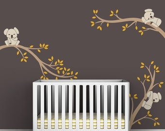 Kids Earth Tones Wall Decal Baby Room Decor - Koala Tree Branches by LittleLion Studio
