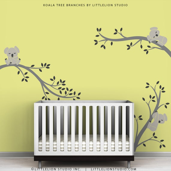 Kids Wall Decals Room Decor Baby Wall Art Gray Wall Sticker - Koala Tree Branches by LittleLion Studio - Warm Gray, Charcoal