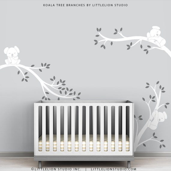 White Tree Wall Sticker Baby Tree Wall Decal White Room Decor - Koala Tree Branches by LittleLion Studio