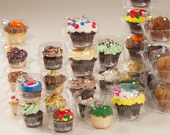 Clear Single Cupcake Container Box - 100 boxes