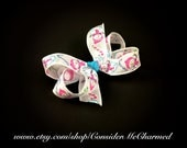 White Snowman Boutique Bow Hair Clip with Pink and Blue Accents
