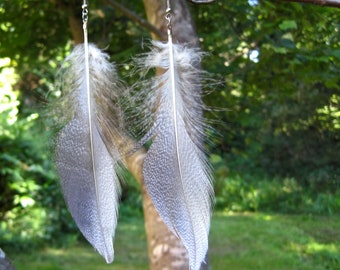 Guinea Feather Earrings - Brown and White 5.5 inches