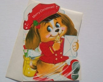 Vintage Fuzzy, Flocked Holiday Christmas Greeting Card - Postman Dog - Unused with Envelope - By Norcross - Kid's Christmas Card