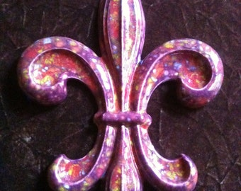 Fleur de Lis handmade mardi gras purple decorative Pottery Wall Hanging