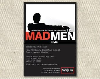 "Custom Birthday Party Invitations - ""Mad Men Invites"""