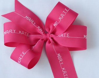 Hot Pink Personalized Hair Bow