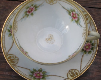 Nippon Tea Cup and Saucer Gold with Relief Moriage Hand Painted