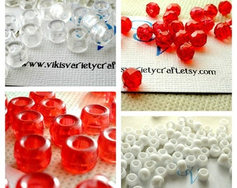 CLEARANCE SALE Red, White, Clear Craft Bead De-stash Lot, Pony Beads, Faceted, Jewelry Making, Craft Supplies